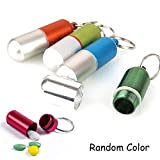 Ezyoutdoor Pack of 5 Pieces Hermetic First-aid Aluminum Keychain Round Pill Bottle Outdoor Hiking Camping Survival Waterproof Pill Case Bottle Keychain Container