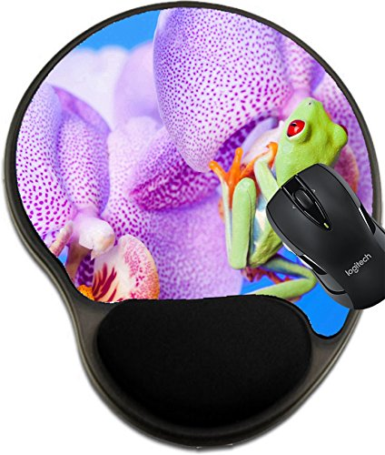 (MSD Natural Rubber Mousepad Wrist Protected Mouse Pads/Mat with Wrist Support Design: 9508366 Green Frog and Flower)