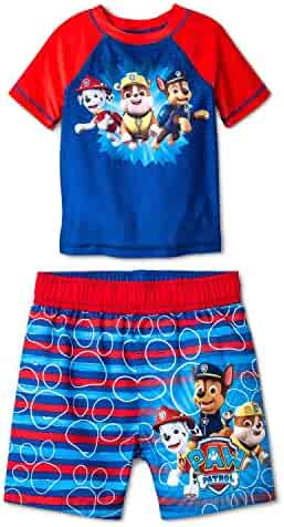 best service 3ab87 6883f Paw Patrol Swim Trunks   Rash Guard Shirt Set UPF 50+ Sun Protection for  Toddlers