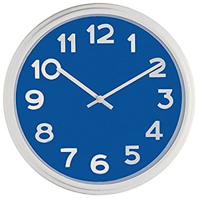 """Bernhard Products - Large Wall Clock, 12.5"""" Silent Non-ticking Blue and White Modern Stylish Quality Quartz, Home Kitchen/Living Room/ Bedroom Clock"""