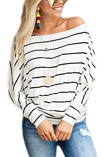 4e086636 Qearal Womens Long Sleeve Striped Shirts Loose Casual Off Shoulder Boat  Neck Tops Blouses