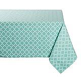 DII Rectangle Lattice Cotton Tablecloth Weddings, Picnics, Summer Parties Everyday Use - 60x104, Aqua Blue White