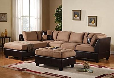 3-Piece Modern Reversible Microfiber / Faux Leather Sectional Sofa Set w/ Ottoman (Hazelnut)