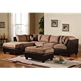 Case Andrea Milano 3-Piece Microfiber Faux Leather Sectional Sofa with Ottoman, Hazelnut