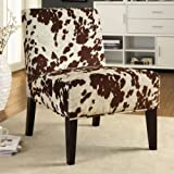INSPIRE Q Peterson Cowhide Fabric Slipper Accent Chair For Sale
