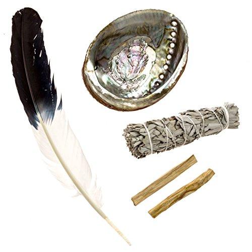 Alternative Imagination Feather Fanning Kit with Abalone Shell, Medium California White Sage, and Palo Santo