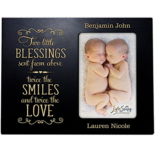 LifeSong Milestones Personalized New Baby Gifts for Twins Picture Frame for Boys and Girls Custom Engraved Photo Frame for New Parents Nana,Mimi and Grandparents (Black)