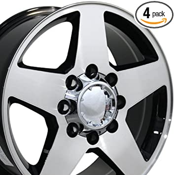 Oe Wheels 20 Inch Fits Chevy 2500 3500 Gmc 2500 3500 8x165 Heavy Duty Silverado Style Cv91a 20x8 5 Rims Gloss Black Machined Set