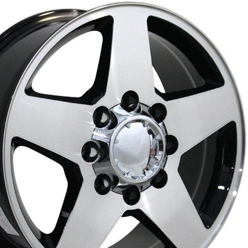 OE Wheels 20 Inch Fits Chevy 2500 3500 GMC 2500 3500 8x165 Heavy Duty Silverado Style CV91A 20x8.5 Rims Gloss Black Machined SET ()