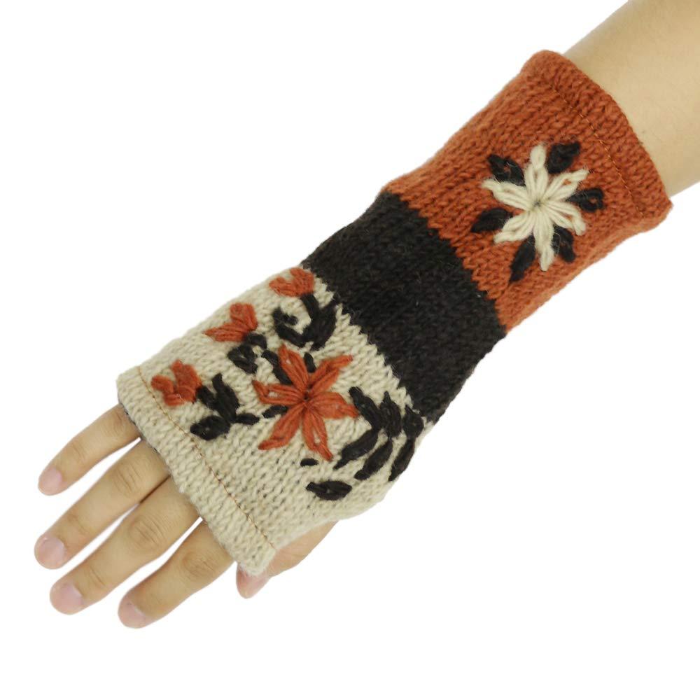 CFrost Women's Hand Knit Winter Flower Fingerless Arm Warmer Gloves by C Frost (Image #4)