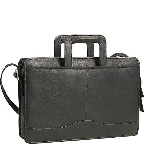 David King Leather Single Gusset Drop Handle Portfolio in Black by David King & Co