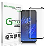 Compra Galaxy S8 Plus Glass Screen Protector, amFilm Full Screen [Case Friendly] Dot Matrix 3D Curved Tempered Glass Screen Protector for Samsung Galaxy S8 Plus (Black) [Bubble Free Guarantee] en Usame