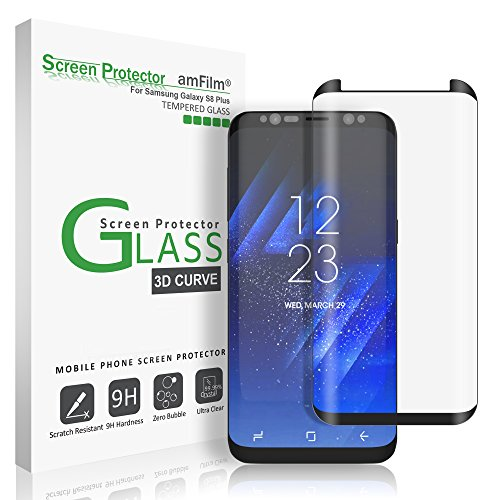 Galaxy S8 Plus Glass Screen Protector, amFilm Full Screen [Case Friendly] Dot Matrix 3D Curved Tempered Glass Screen Protector for Samsung Galaxy S8 Plus (Black) [Bubble Free Guarantee]