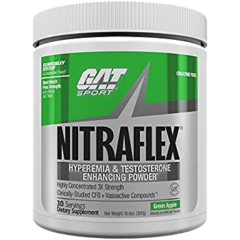 GAT Clinically Tested Nitraflex, Testosterone Enhancing Pre Workout, Green Apple,300 Gram