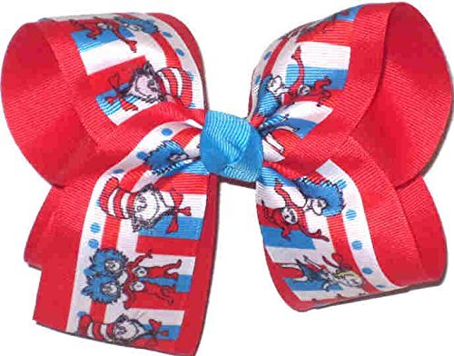 """DR SEUSS Large Hair Bow Clip Big 6"""" 6 Inch Jojo Cat In The Hat Thing 1 /& 2 Fish"""