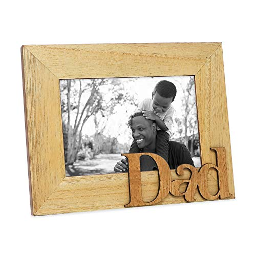 Isaac Jacobs Natural Wood Sentiments Dad Picture Frame, 4x6 inch, Photo Gift for Father, Family, Display on Tabletop, Desk (Natural) (Daddy Photo Frame)