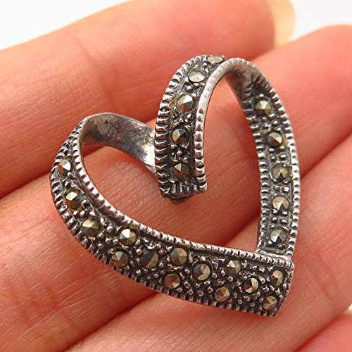 925 Sterling Silver Vintage Real Marcasite Gem Ribbon Heart Design Slide Pendant Jewelry Making Supply by Wholesale Charms ()