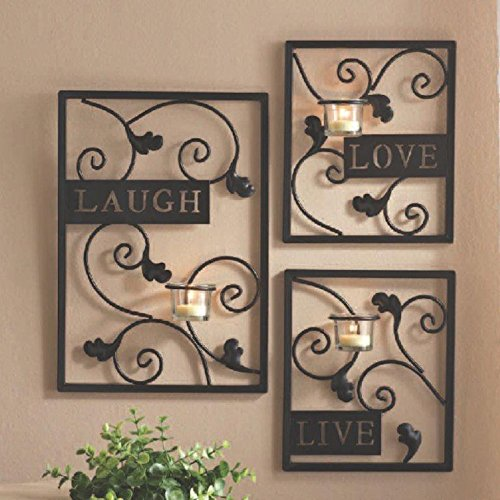 Hosley's Set of Three Dark Brown Iron T-Lite Wall Sconce - Laugh, Love, Live