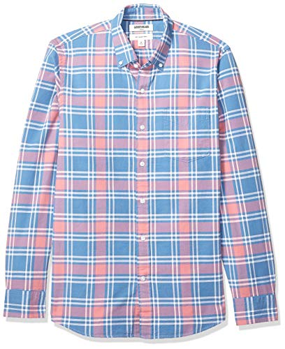 (Goodthreads Men's Slim-Fit Long-Sleeve Plaid Oxford Shirt, Pink Denim Plaid, Large)