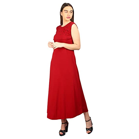 Buy Clothvilla Women S Maxi Long Design Red Solid A Line Skater Knee Length Midi Dress One Piece Dress Ladies Dress Midi Gown Dress Midi Gown Mini Dress At Amazon In