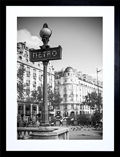 9x7 '' PHOTO LANDMARK METRO SIGN PARIS BLACK WHITE FRAMED ART PRINT (Metro Sign)