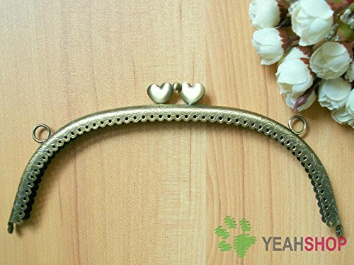 Antique Brass Embossed Purse Frame - Curve Lace-edge Sweet Heart - 20.5cm / 8 inch (PF-16)