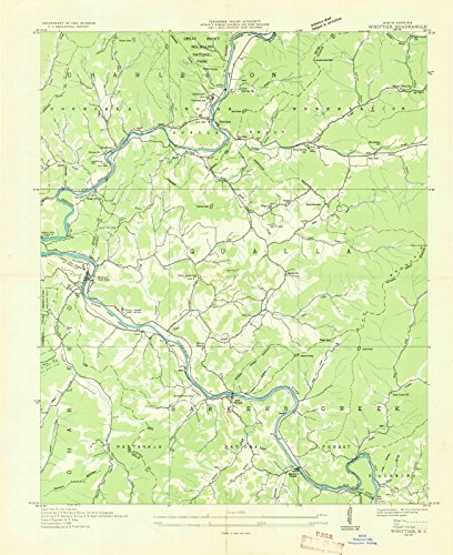 (Historic Map | Whittier, North Carolina (NC) 1936 | USGS Historical Topographic Map | Vintage Chart Wall Art Poster Decor Reproduction | 44in x 55in)