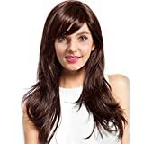 BLONDE UNICORN Long Curly Natural Human Hair Wigs with Bangs Wigs for Women Mixed Real Human Hair in Daily Use(Color:Brown)