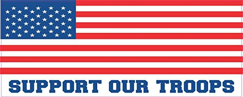 - 10in x 4in Support Our Troops Bumper Sticker