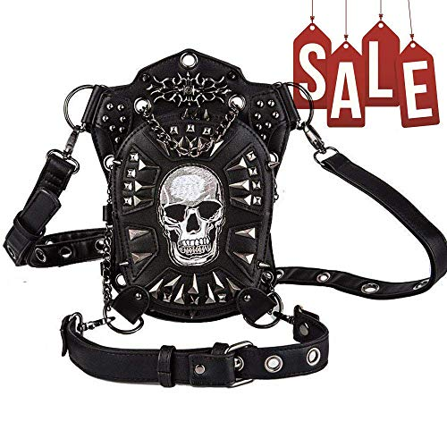 Steampunk Punk Waist Bag Fanny Pack Shoulder Bag Crossbody Bag Thigh Leg Hip Holster Purse Belt Pouch Travel Chain Bags Leather Hiking Packs Handbag Messenger Bags for Men Women (Black-Skull) ()