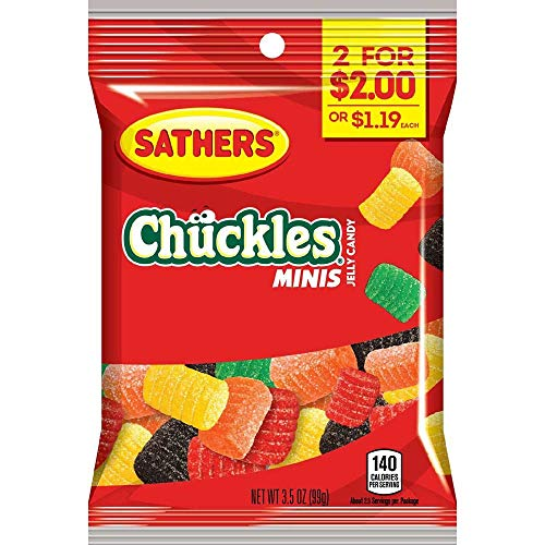 Sathers 2 for $2 Mini Chuckles Jelly Candy, 3.5 Ounce - 12 per case.