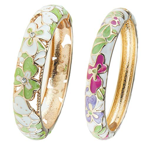 UJOY Vintage Jewelry Cloisonne Handcrafted Enameled Gorgeous Rhinestone Gold Hinged Cuff Bracelet Bangles Gifts 88A22-55A100 Clover Blue ()