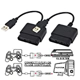 TraderPlus 2 Pack Controller Adapter for PlayStation 2 to USB for Sony PlayStation 3 and PC Converter Cable Use with DualShock 2 PS2 Wired Controllers