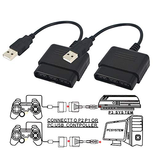 (TraderPlus 2 Pack Controller Adapter for PlayStation 2 to USB for Sony PlayStation 3 and PC Converter Cable Use with DualShock 2 PS2 Wired Controllers)