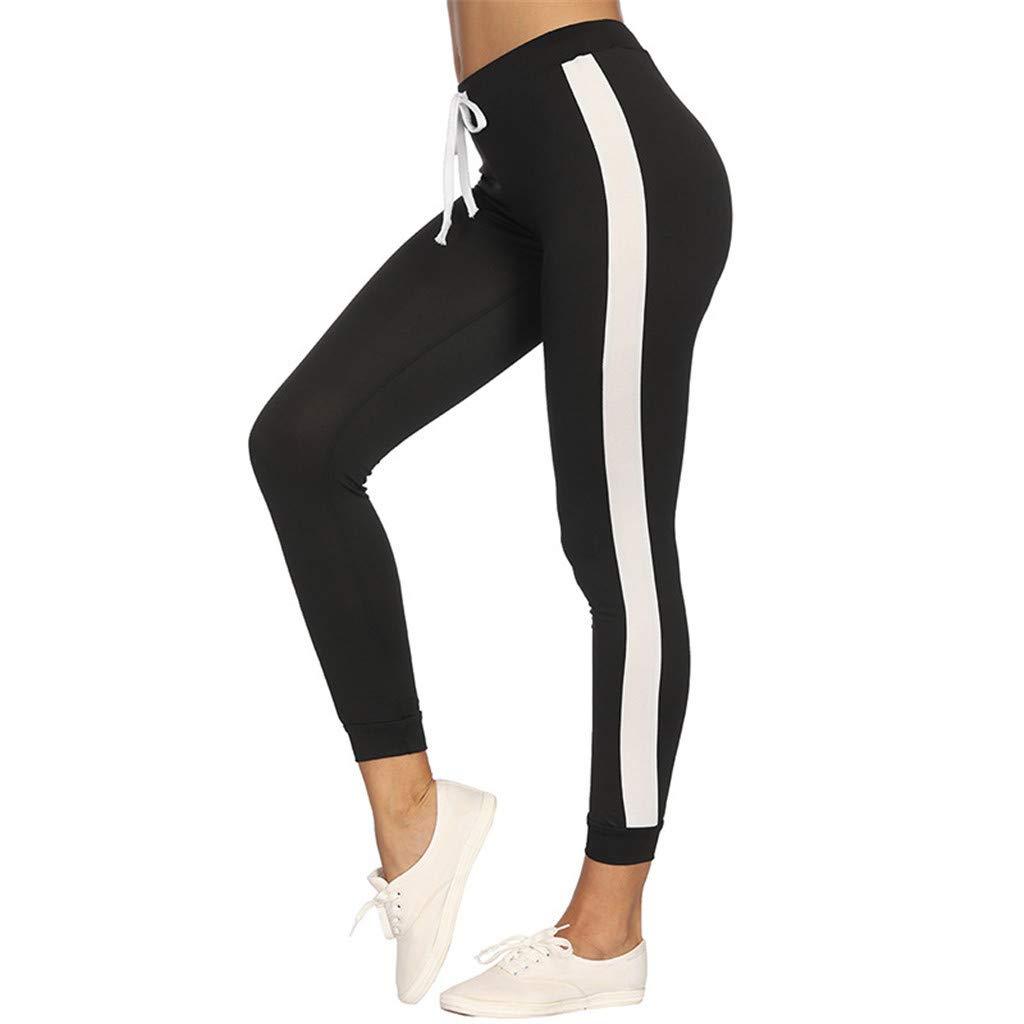 98d44b087d00e My Heat Women Pants Color Block Casual Tie Waist Yoga Jogger Pants Sports  Leggings at Amazon Women's Clothing store: