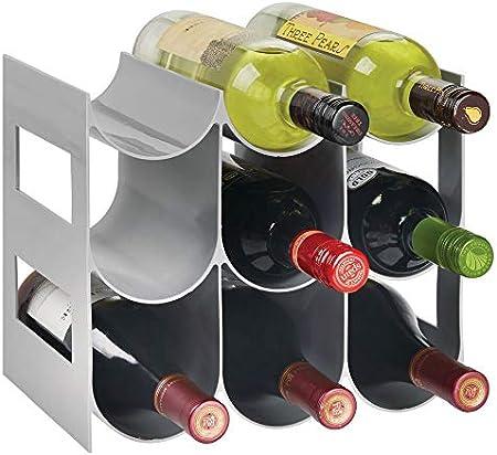 ELEGANTE ALMACENAJE: Estos botelleros de plástico guardan hasta 9 botellas de vino u otras bebidas y