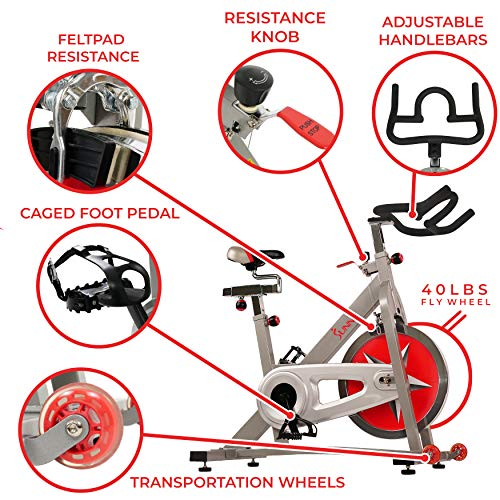 Sunny Health & Fitness Pro Indoor Cycling Bike with 40 LB Chromed Flywheel, Dual Felt Pad Resistance with Caged Pedals, Adjustable Seat and Handlebar, 275 LB Max Weight