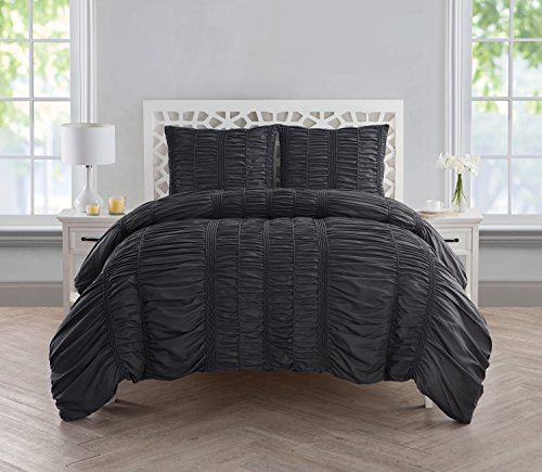VCNY Home Holly Technique 3 Piece Ruched Design Duvet Cover Set, King, Charcoal