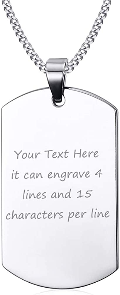 "VNOX Free Engraving Stainless Steel Plain Dog Tag Pendant Necklace with 24"" Chain,Gift for Dad Husband Boy"