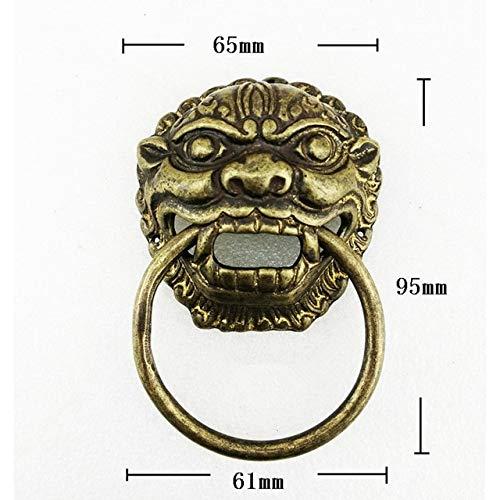 Kasuki 6595mm Brass Chinese Vintage Animal Beast Head Furniture Door Pull Handle Classic Door Handle