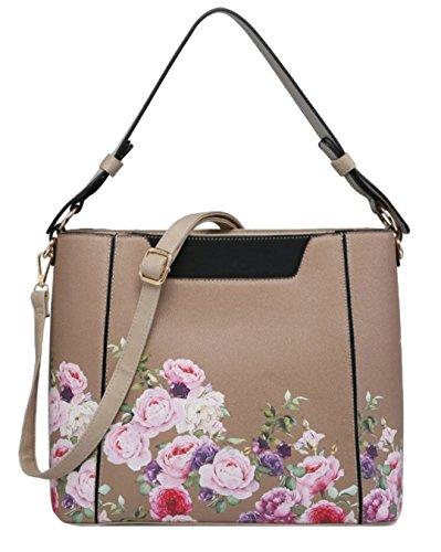 Roses HandBags Bag Top Girly Handle Khaki xwIzzqd