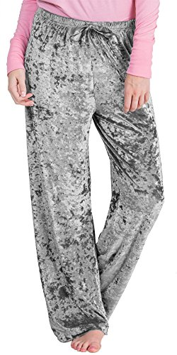 Body Touch Poly Spandex Crushed Velour Lounging Pants In Assorted Colors (Small (4-6), Silver Gray) Crushed Velour Pant