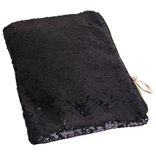 Lusso scintillante di paillettes nozze serata frizione borsa a mano Black