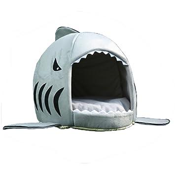 CHAGANA casa en Forma de tiburón Perro Gato Cesta Cama Caliente Suave cojín: Amazon.es: Productos para mascotas