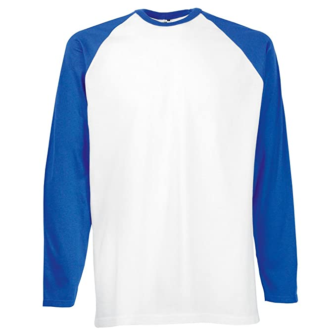 Fruit of the Loom Long sleeve baseball tee White/ Royal Blue S