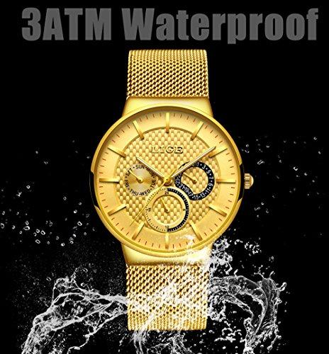 LIGE-Watches-Luminous-Analog-Quartz-Waterproof-Stainless-Steel-Mesh-Band-Sport-Dress-Wrist-Watches-Gold-Black-for-Men-Women