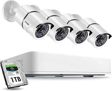 Detecci/ón PIR 8 Acceso Remoto 2TB Disco Duro C/ámara de Vigilancia Exterior ZOSI 5MP Sistema de C/ámaras de Seguridad 8 Canales S/úper HD Grabador DVR +