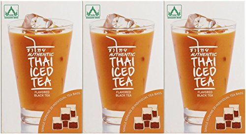 Authentic Thai Iced Tea Flavored Black Tea - Pack of 3 (Best Flavored Tea Brands)