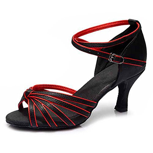 Satin Shoes 7CM Women's Performance 217 Roymall Ballroom Latin Shoes Dance Red Salsa Model Tango Black pB5aqwI