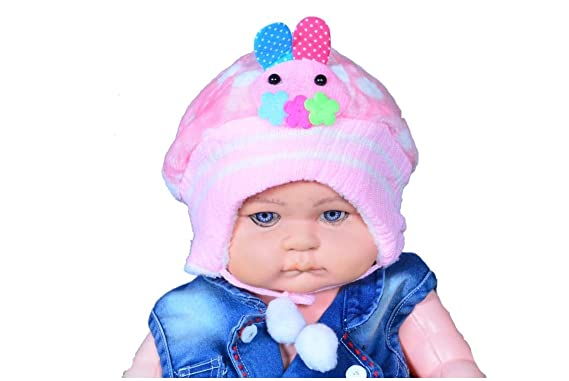 Brats N Beauty-Imported Unisex New Born Baby Woollen Fur Cap Sky ... 15bab2a5377f